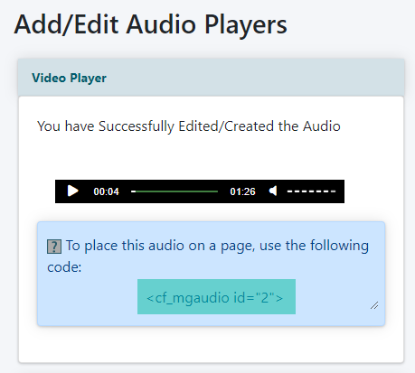 Embed an Audio File Using the Built in Player
