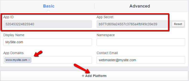 Setting Up Facebook Connect