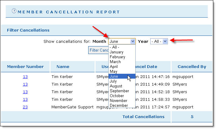 Cancellation Report Sorting