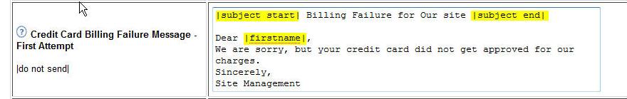 Edit the Billing Failure Message