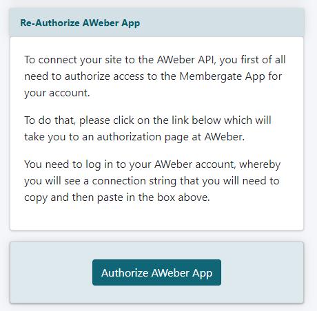 Connect to AWeber API