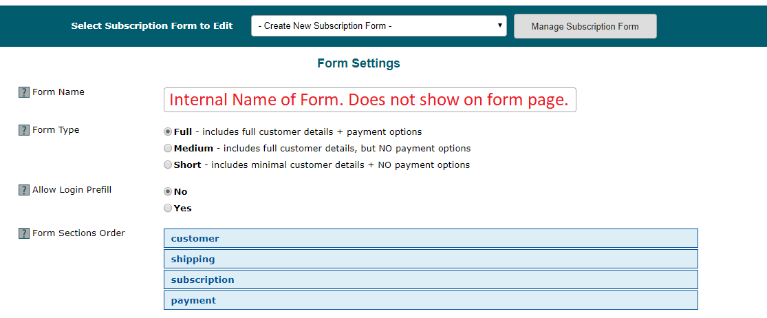 Subscription Form Generator